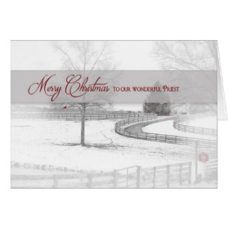 Christmas- Priest - Horse Ranch-Winter/Snow Greeting Card