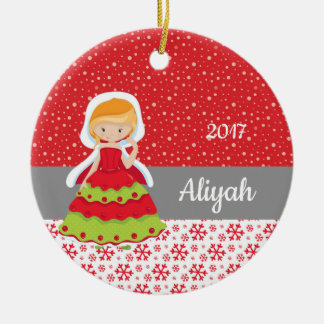 Christmas Princess Snowflakes Snow Ornament Red