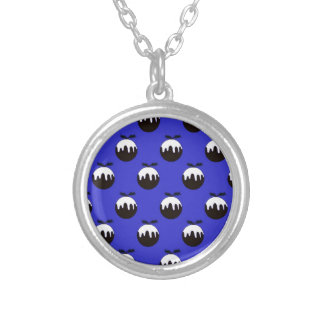 Christmas pudding blue silver plated necklace
