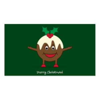 Christmas pudding cartoon character pack of standard business cards