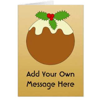 Christmas Pudding. Gold color background. Note Card