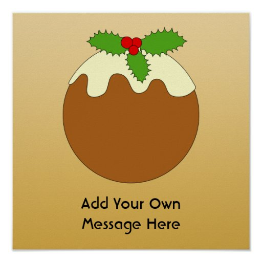 Christmas Pudding. Gold color background. Poster