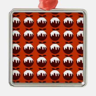 Christmas pudding red Silver-Colored square decoration