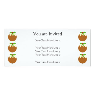 Christmas Pudding. White background. 10 Cm X 24 Cm Invitation Card