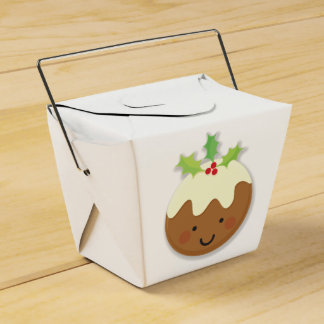 Christmas Pudding White Favour Box