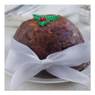 Christmas Pudding with Red Bow. Mumbai, India. Poster