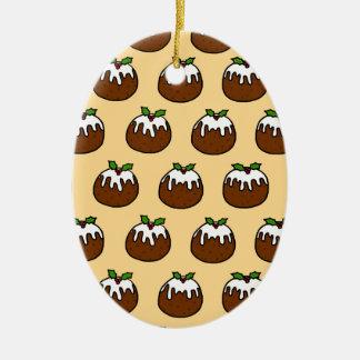 Christmas Puddings Ceramic Oval Decoration