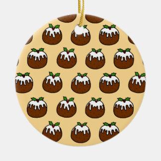 Christmas Puddings Round Ceramic Decoration