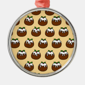 Christmas Puddings Silver-Colored Round Decoration
