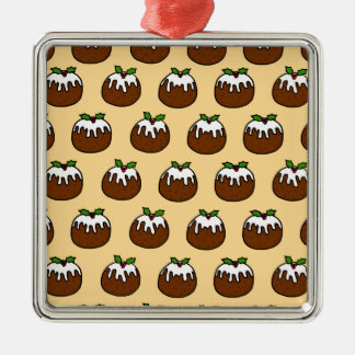 Christmas Puddings Silver-Colored Square Decoration