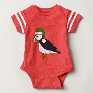 Christmas Puffin with Green Santa Hat Baby Bodysuit