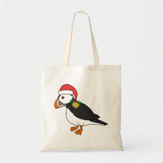 Christmas Puffin with Red Hat & Gold Jingle Bell Tote Bag