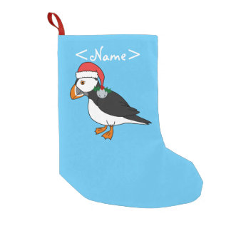 Christmas Puffin with Red Hat & Silver Jingle Bell Small Christmas Stocking