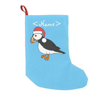 Christmas Puffin with Red Santa Hat Small Christmas Stocking