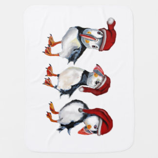 Christmas Puffins Baby Blanket