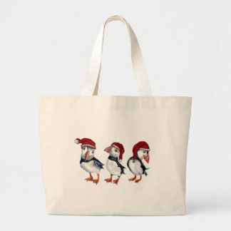Christmas Puffins Large Tote Bag