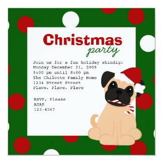 Christmas Pug 13 Cm X 13 Cm Square Invitation Card