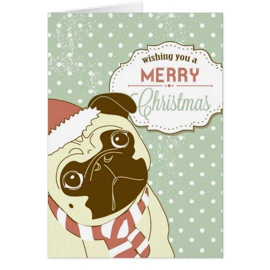 Christmas Pug! Cute little dog in santa hat