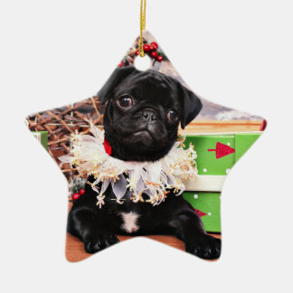 Christmas - Pug - Daisy Mae Ceramic Star Decoration