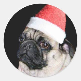 Christmas pug dog classic round sticker