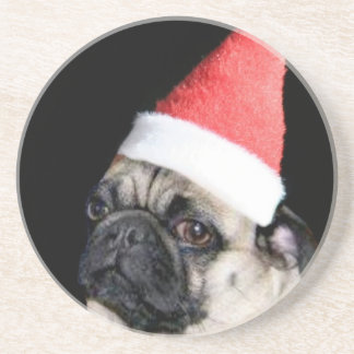 Christmas pug dog coaster
