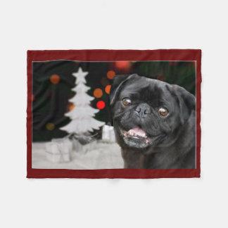 Christmas pug dog Fleece blanket