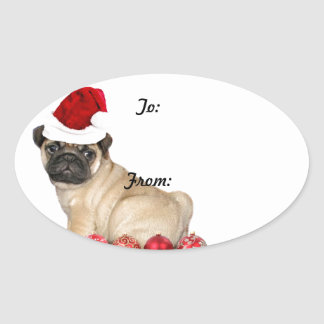 Christmas pug dog gift tag stickers