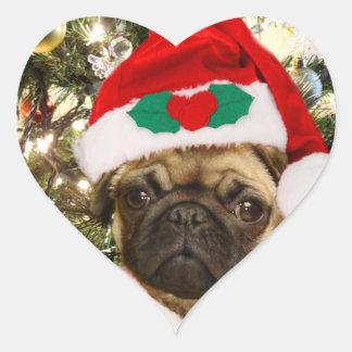 Christmas Pug dog Heart Sticker