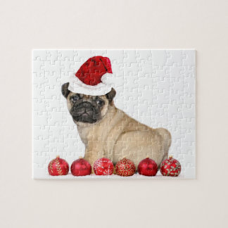 Christmas pug dog jigsaw puzzle