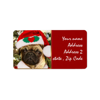 Christmas Pug dog Label