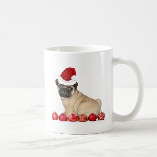 Christmas pug dog coffee mugs