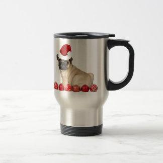 Christmas pug dog stainless steel travel mug
