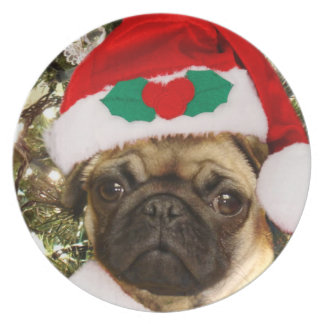 Christmas Pug dog Party Plate