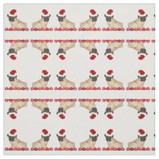 Christmas pug dog pattern Fabric