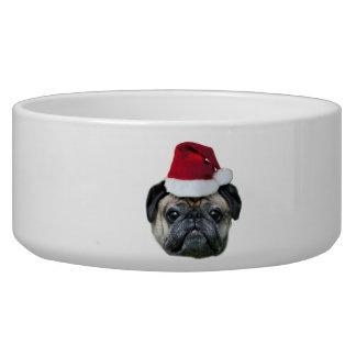 Christmas pug dog pet water bowl