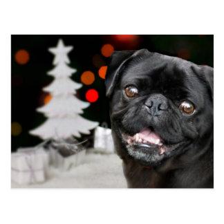 Christmas pug dog postcard