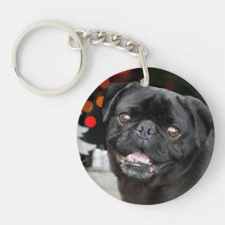 Christmas pug dog round keychain
