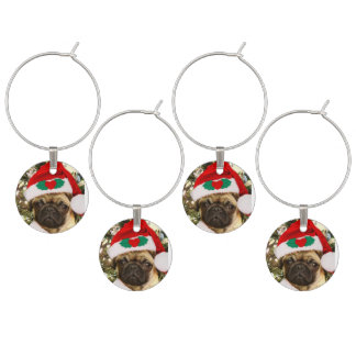 Christmas Pug dog set of 4 wine charms