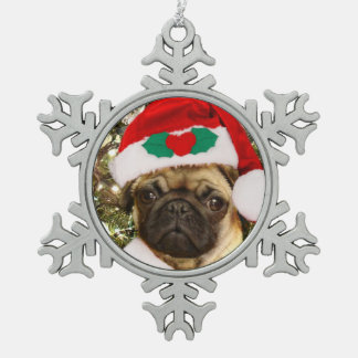 Christmas pug dog snowflake pewter christmas ornament