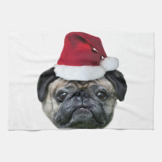 Christmas pug dog tea towel