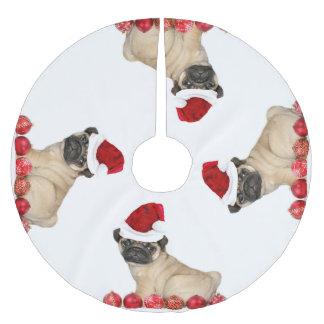 Christmas Pug Dog tree skirt Brushed Polyester Tree Skirt