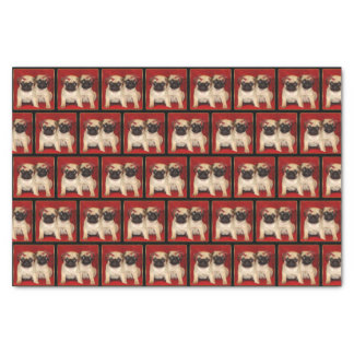 Christmas pug dogs tissue paper