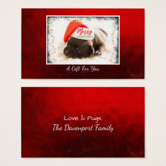 Christmas Pug in Santa Hat  Gift For You Business Card
