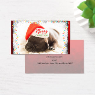 Christmas Pug in Santa Hat with Christmas Lights Business Card