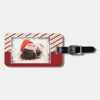 Christmas Pug in Santa Hat with Christmas Lights Luggage Tag