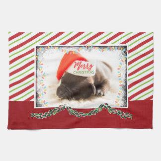 Christmas Pug in Santa Hat with Christmas Lights Tea Towel