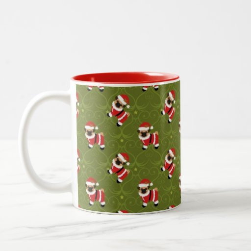 Christmas pug in santa suit with swirly pattern mugs