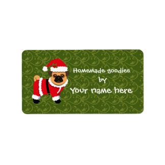 Christmas pug label