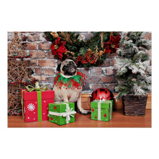 Christmas - Pug - Lily Lou Posters