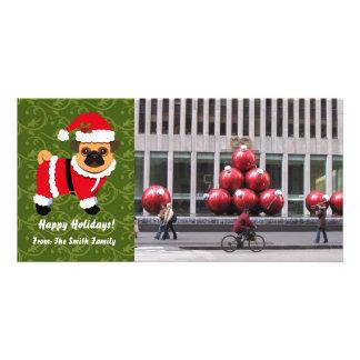 Christmas pug customized photo card